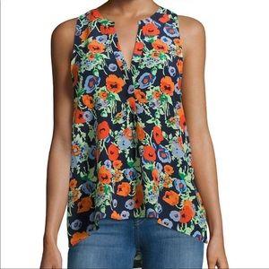 Joie Aruna Floral Silk Sleeveless Blouse